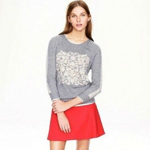 J Crew Embossed Floral Sweater Cashmere Wool Blend